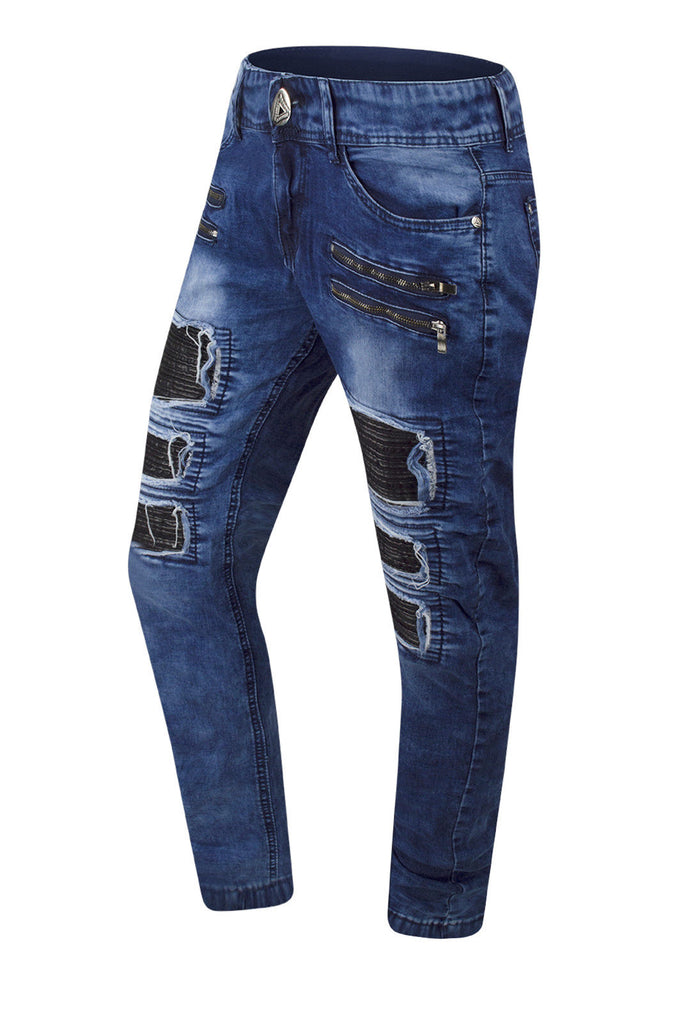 NEW Men Biker Blue Denim Jeans PU Ripped Distressed Zipper Double Needle 30-38