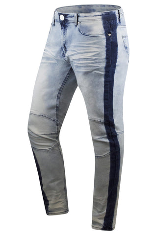 New Men Biker Premium Denim Jeans Taper Slim Fit
