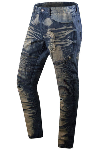New Men Premium Biker Denim Jeans Blue Paint Splat