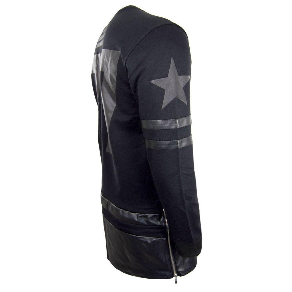 Men Long Sleeve Shirt Longline Tall Side Zipper #77 Leather America Flag