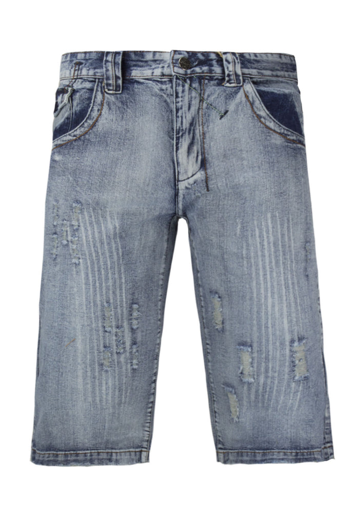 NEW Men Denim Jean Sorts Ripped Distressed Rips Button Pockets Designer Look