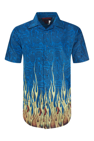 NEW Men Sublimation Button Up Shirt Tribal Maze Blue Fire Sizes M L XL Collar