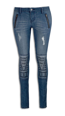 NEW Women Denim Blue Ripped Aztec Knee Jewels Skinny Slim Zipper Pocket Jeans