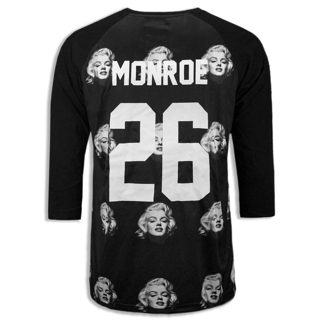 NEW Men Sublimation Shirt Marylin Monroe Black 3/4 Sleeve M-2XL White Celebrity