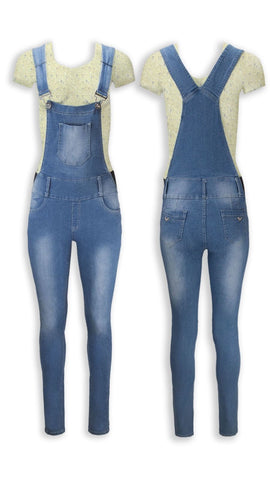 NEW Women Denim Overalls Jean Pants Elastic Waist Light Jeans Blue All Sizes
