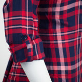 Women Flannel Long Sleeve Shirts Button Up Shirt Red White S M L Slim Fit Collar