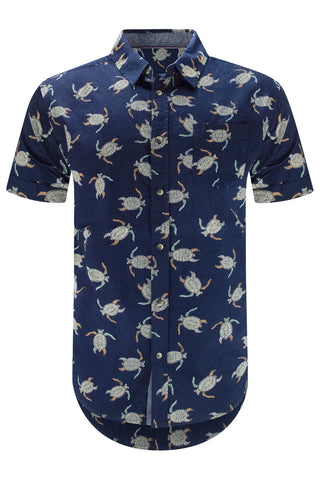 Men Button Turtle Print Shirt