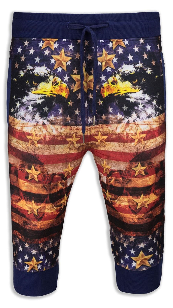 New Men Caprice French Terry Joggers Shorts USA Flag Eagle Print ALL SIZES