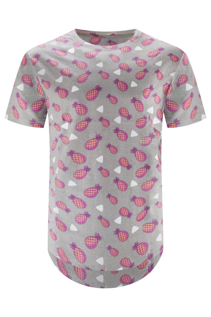 New Men Pink Pineapples Gray T-Shirt