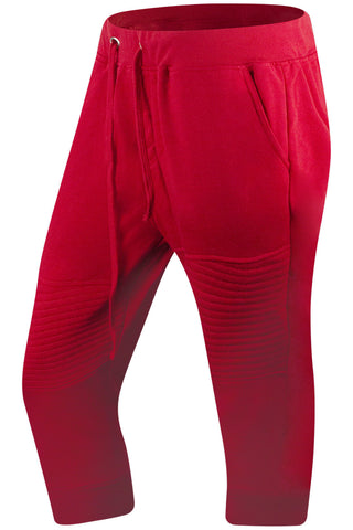New Men Red Biker Capris Short Pants
