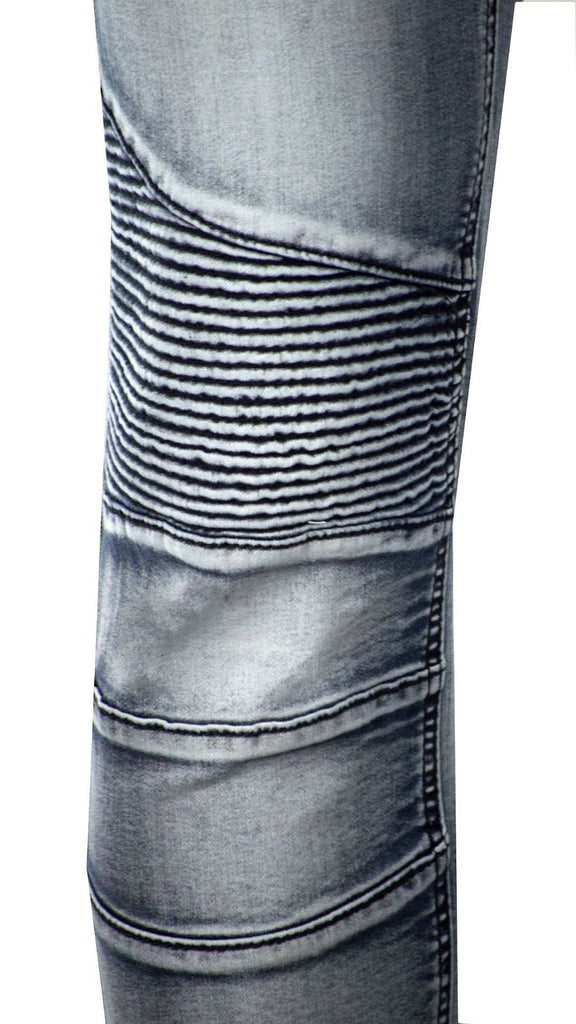 NEW Men Gray Blue Premium Biker Denim Jeans