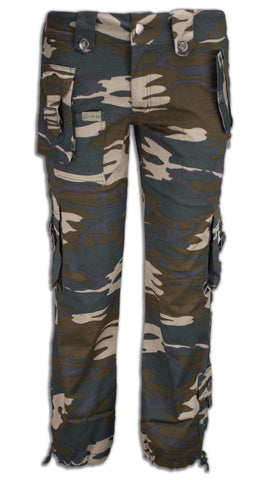 NEW Women Capri Cargo Camo Pants Side Pockets Green ALL SIZES Stretchy