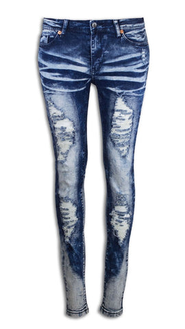 Women Skinny Jeans Damaged Denim Ripped Stretchy All Women Sizes