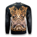 NEW Men Crewneck Tiger Print FAUX Leather Sleeves Sweater Pullover Long Sleeve