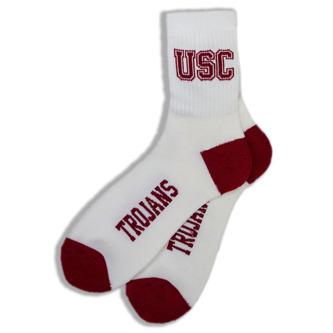 NEW Men USC Trogans Socks White Red Yellow Size 10-13 Footwear Sport Sock