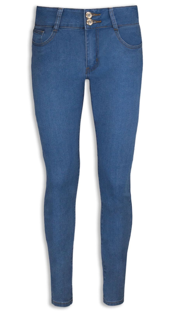 NEW Women Ladies Stretchy Jeans Denim Loose Fit Light Blue High-Rise 2 Buttons