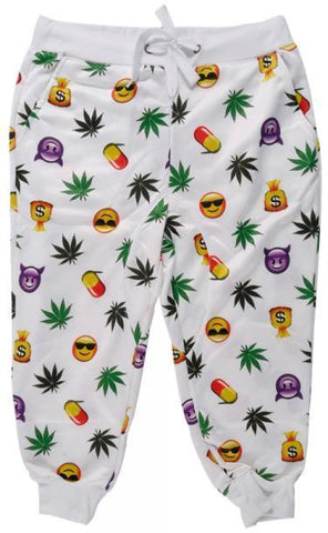Short Joggers White Emoji Pants