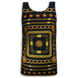 New Men Sublimation Tank Top Gold Chains Stars Fashion S-2XL Polyester Shell