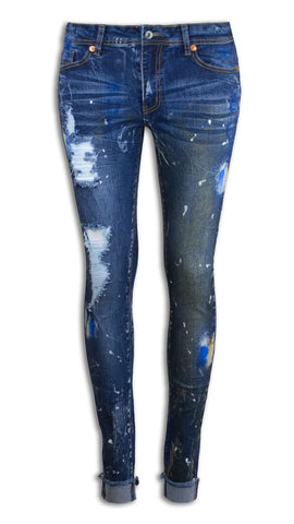 NEW Women Skinny Joggers Jeans Pants Paint Splatter Ripped Stretchy All Sizes