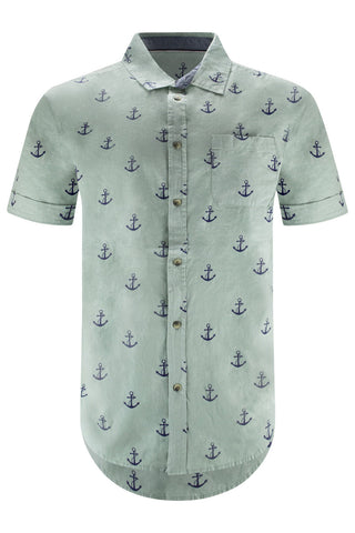 Men Anchor Green Button Up Shirt