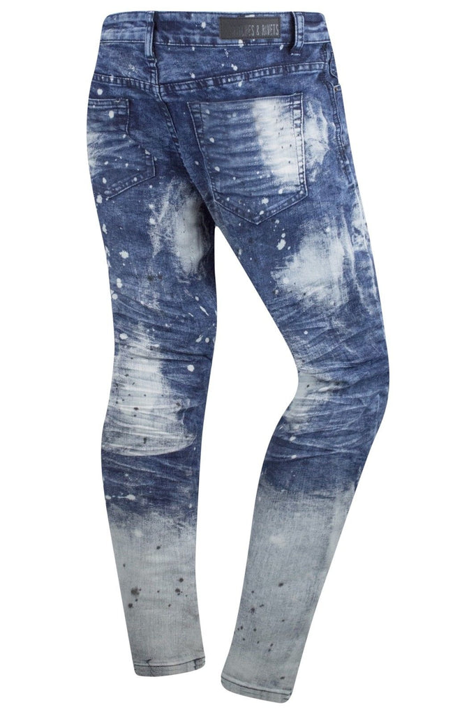 New Men Paint Splattered Ripped Jeans Original Fit
