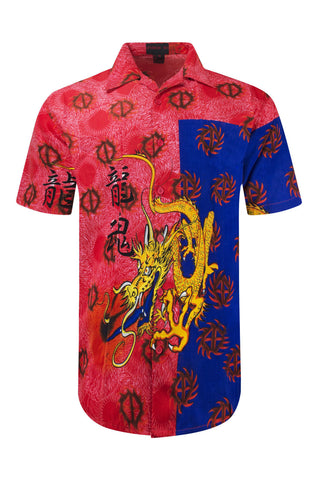NEW Men Sublimation Button Up Shirt Dragon Fire Design Collar Short Sleeve S-5X