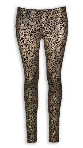 NEW Women Fashion Gold Shiny Flower Jeans Stretchy Skinny Slim Pants ALL SIZES