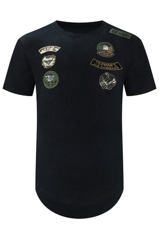 New Men Embroidered Patch T-Shirt USA