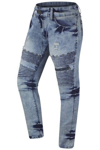 NEW Men Denim Ripped Biker Jeans Studs Double Stacked Needle Stretchy Fabric
