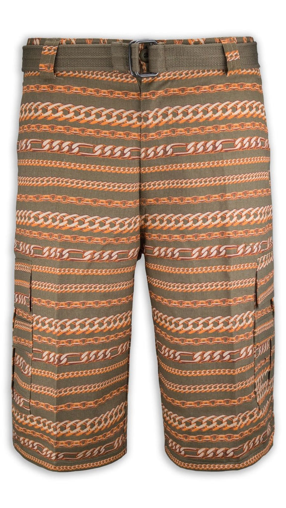 NEW Men Cargo Shorts FREE BELT Chain Necklace Print Gold Copper 6 Pockets 30-40S