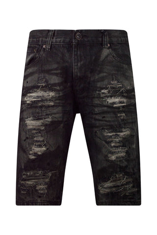 New Men Black Ripped Distressed Shorts