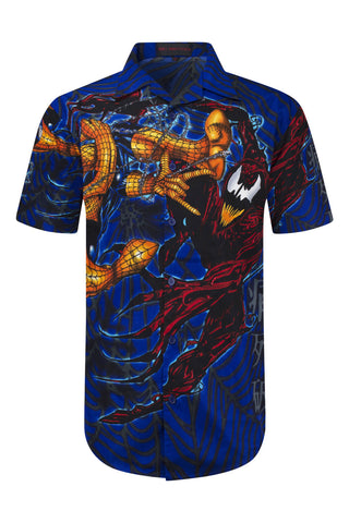 NEW Men Sublimation Button Up Shirt Blue Spider Man Cartilage Sizes XL 3XL
