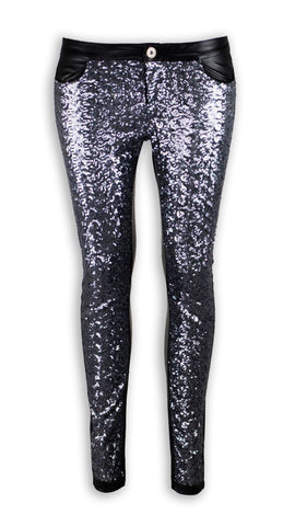 NEW Women Fashion Black Leather Rhinestones Stretchy Skinny Slim Pants