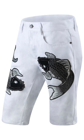 New Men Denim White Koa Fish Shorts