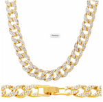 "New Large Full Stone Cuban Chain Necklace Gold 20"" Length"