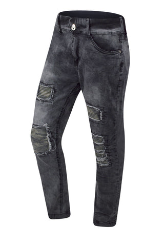 NEW Men Biker Gray Camo Denim Jeans Ripped Distressed Stacked  Zipper 30-38
