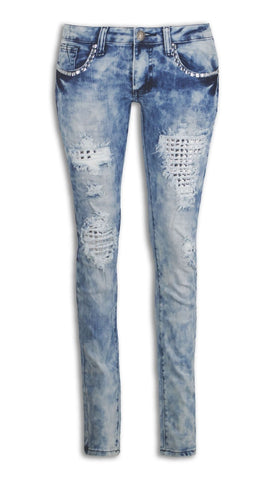 NEW Women Skinny Fit Slim Denim Ripped Rhinestones Gems Distressed Jeans Pants