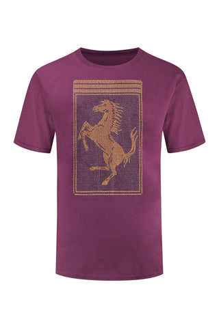 New Men Racing GT Rhinestones Burgundy T-shirt