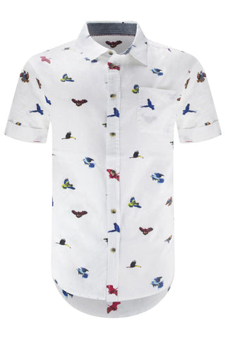 Men Button Up Shirt Birds Print