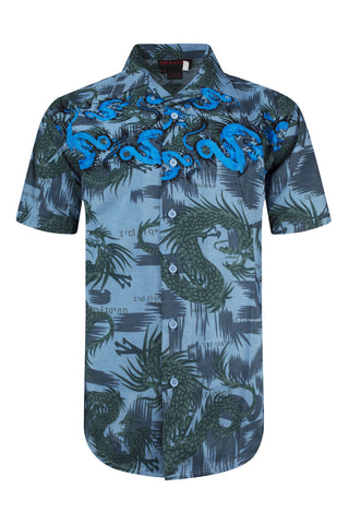 NEW Men Sublimation Button Up Shirt Dragon Fire Design Collar Short Sleeve S-XL