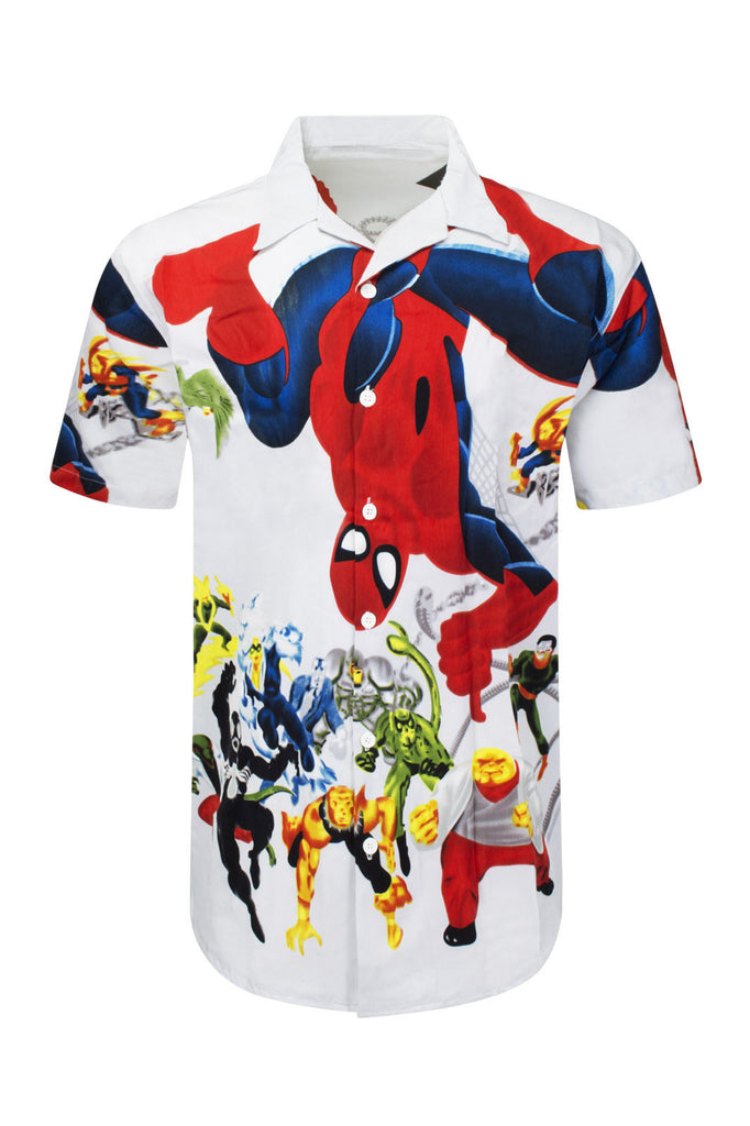 NEW Men Sublimation Butto Down Spiderman Marvel Polyester Shirt Sizes M-2XL