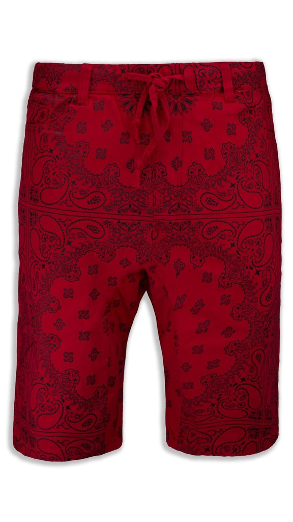 NEW Men Red Bandana Twill Material Shorts Drawstrings Elastic Belt Loop Waist