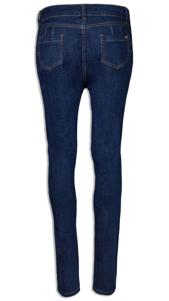 NEW Women Ripped Denim Blue Pants Jeans Ripped Distressed Rips Stretchy Elastic