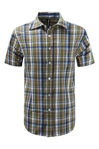 NEW Men Button Up Down Shirt Striped Plaid Short Sleeve Stripes Sizes S-XL