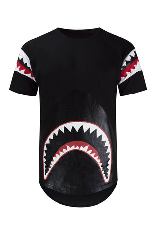 NEW Men Shark Teeth T-Shirt Urban Black Back Zipper Elongate Tee Sizes M-3XL