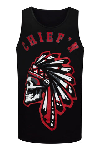 NEW Men Chief ''N Tank Top Shirt Indians Sleeveless Tribe Sizes M-3XL Red & Black