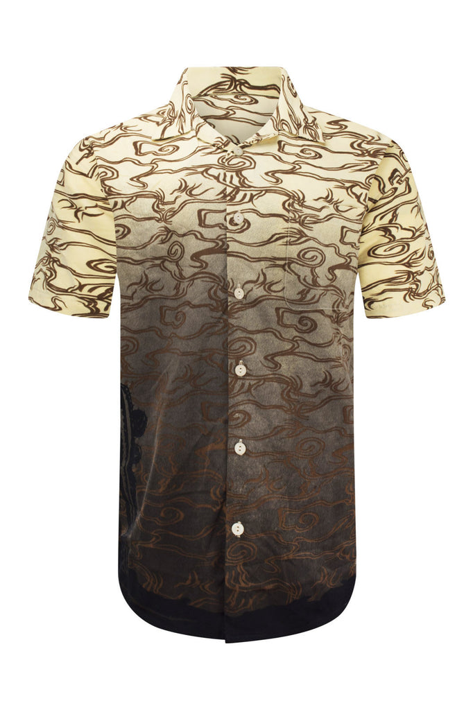 NEW Men Sublimation Butto Down Shirt Eagle Wester Desert Sizes S-XL Beige Khaki
