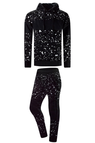 NEW Men Fleece Biker Sweatsuit Paint Splattered