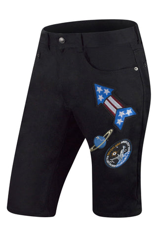 New Men Denim Black Space Patches Shorts