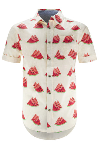 New Men Button Up Watermelon Shirt